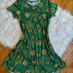 Lularoe Carly green printed midi length dress